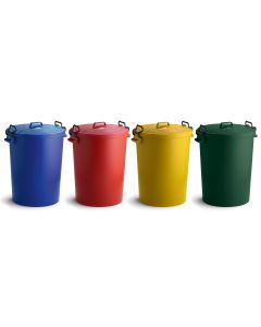 Heavy Duty Coloured Clip Dustbins (110 litre)