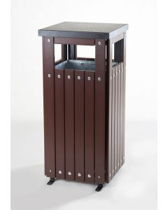 Square Wood Effect Waste Bin 36 Litres