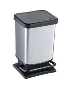 20 litre plastic pedal bin Metal Look finish