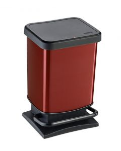 20 litre plastic pedal bin Metal Look finish