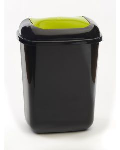 28 litre plastic push bin with coloured lid