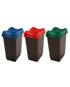 Set of 3 50 Litre Open Top Recycling Bins with Lids and Stickers