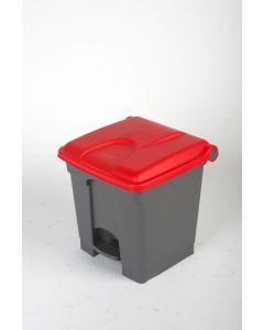 30 litre plastic pedal bin grey body red lid