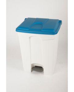 70 litre plastic pedal bin white base blue lid