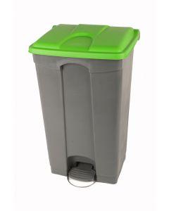 90 litre plastic pedal bin grey base green lid